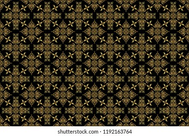Vintage black and golden pattern. Oriental raster classic pattern. Abstract seamless pattern with golden repeating elements on black background.