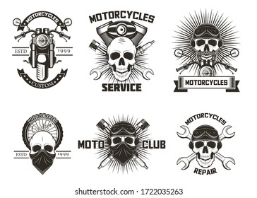 Vintage black moto skull labels, logos, emblems, badges illustration isolated on white background. Moto club, motor bike repairs and motorcycle service typography design.