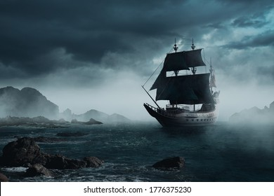 VIntage black pirate ship sailing at sea ( 3D illustration, Rendering )