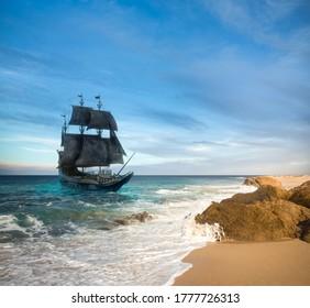 VIntage black pirate ship sailing at sea  3D illustration