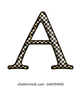 Vintage black and white checkered alphabet style uppercase or capital letter A in a 3D illustration with an aged rustic effect and rough texture isolated on a white background with clipping path.