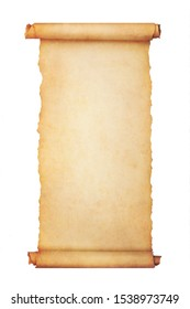 Vintage blank paper scroll isolated on white background with copy space.