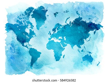 Vintage blue map of the world on a blue background. Watercolor illustration.