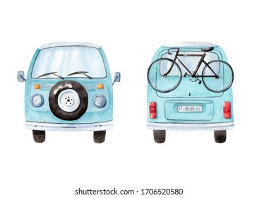 Vintage blue minivan isolated on white background, front view with stepney. Back view of the car with bicycle. Watercolor illustration, hand dawn clipart.