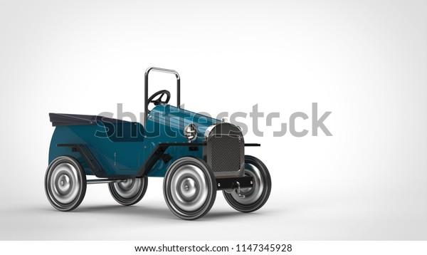 Vintage blue toy car - 3D Illustration