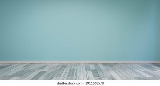 Vintage blue wall living room with white wood floor tiles 3d render illustration