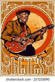 Vintage blues Poster - old bluesman is playing on guitar