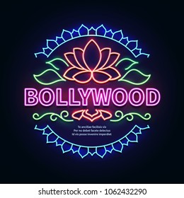 Vintage bollywood movie signboard. Glowing retro indian cinema neon sign. Illustration of bollywood cinema signboard
