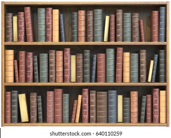 Vintage books on bookshelf isolated on white background. Education library book store concept. 3d illustration