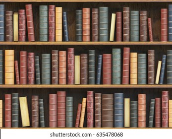 Vintage books on bookshelf. Old books tiled seamless texture background (vertically and horizontally). 3d illustration.