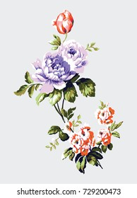 Vintage bouquet of forget me nots, roses and tulips, floral design element - raster version