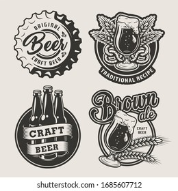Vintage brewing logos set with beer cap glasses bottles barley ears and pretzel on light background isolated  illustration