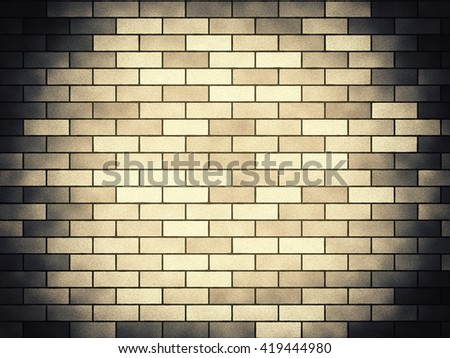 Vintage brick background vignette, sand-gray. A bright and decorative background in ancient style, with blackout on edge and the light center. Basis for the text and design.