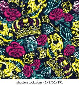 Vintage bright colorful tattoos seamless pattern with cat skull filigree medieval key skeleton hand holding rose royal crown diamond dice illustration