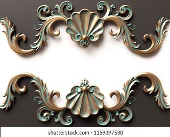 Vintage bronze card with ornament decoration. 3D illustration