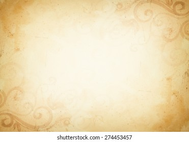 A vintage brown and soft yellow cream background with dark gold country western design elements of curled flourishes and grunge texture.