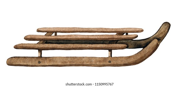 Vintage brown wooden sledges isolated on white background. Watercolor hand drawn illustration