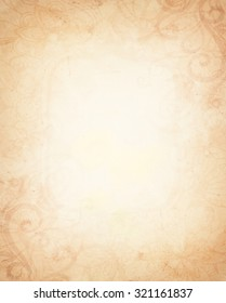 A vintage brown and yellow background with border design elements of faded curls swirls flourishes and grunge.