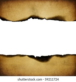 Vintage burned paper background, center part isolated (space for text).