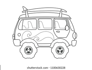 Vintage Bus Side View Coloring Book. Printable Page.