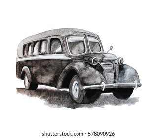 Vintage Bus, watercolor hand drawn illustration, 1940s