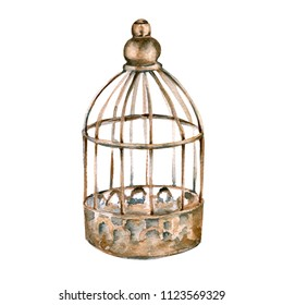 Vintage cage for the bird. isolated on white background. Watercolor illustration