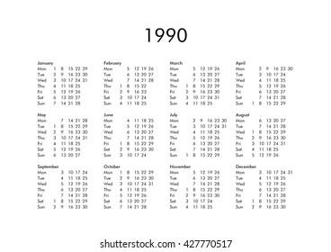 1990 Calendar.1990 Calendar Images Stock Photos Vectors Shutterstock