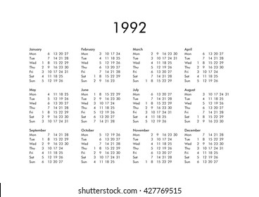 Royalty Free Stock Illustration Of Vintage Calendar Year 1992 All