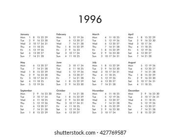 Vintage Calendar Year 1957 All Months Stock Illustration Royalty