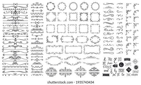 Vintage calligraphic elements. Decorative frames, flourish dividers, borders. Beautiful swirls, sinks decorated