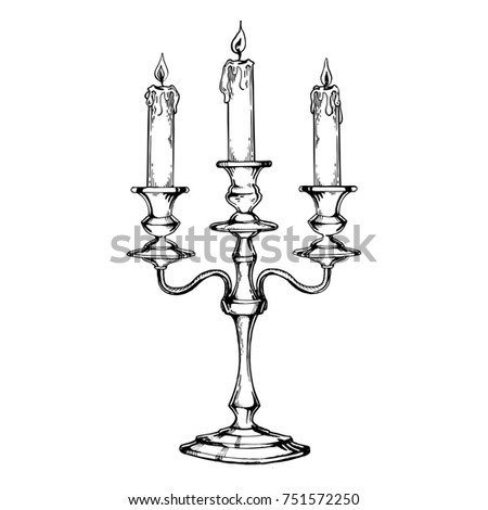 vintage candelabrum candles engraving raster illustration stock