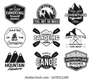 Vintage canoe kayaking logos patches set. Hand drawn camping labels designs. Mountain expedition, canoeing. Outdoor emblems for t shirts. Silhouette illustrations collection. Stock isolated