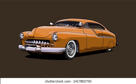 Vintage car illustration. Hotrod car.