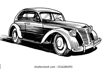 Vintage car. Ink black and white illustration