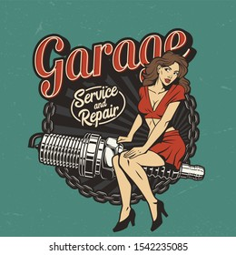 Vintage car repair service colorful label with pinup pretty woman sitting on spark plug isolated illustration