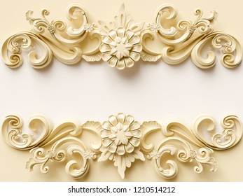 Vintage card with ornament decoration. 3D illustration