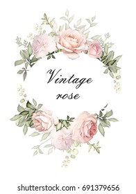 Vintage Card, Watercolor wedding invitation design with pink roses, bud, leaves. flower, background with floral elements for text, watercolor background. Template. wreath, round frame
