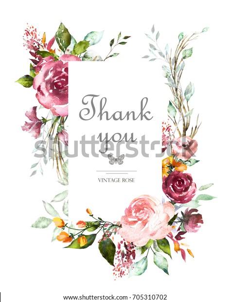 Vintage Card Watercolor Wedding Invitation Design庫存插圖