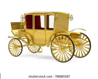 Vintage Carriage Isolated. 3D rendering