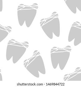 Vintage cartoon with teeth seamless. White teeth clean