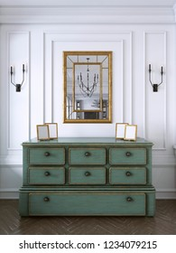 Vintage chest of drawers in classic style with miror. 3d rendering