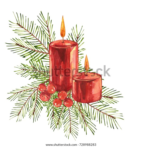 Vintage Christmas illustrations. Christmas candle, tree and decorations. Watercolor design isolated on white background.