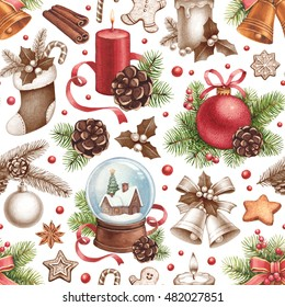 Vintage Christmas pattern. Illustrations of Christmas decorations