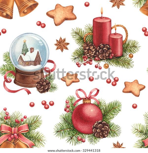 Christmas Illustrations Vintage.Vintage Christmas Pattern Watercolor Illustrations Christmas