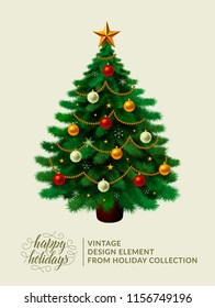 """Vintage christmas tree with xmas decoration - ornament, star, garland, snowflakes, lamps. Merry Christmas, happy new year. Happy holidays text and logo. Illustration from """"Holiday"""" set by Alextanya."""