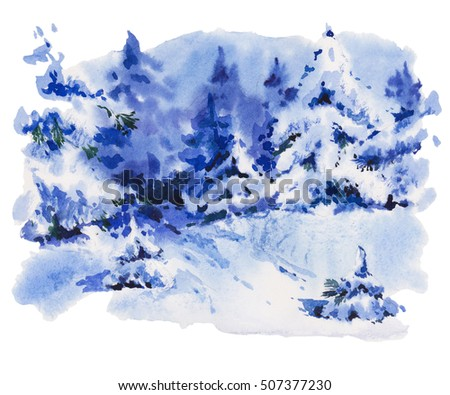 88ac74a4704f Vintage Christmas watercolor greeting card with cozy countryside winter  landscape. Fairytale forest winter watercolor illustration