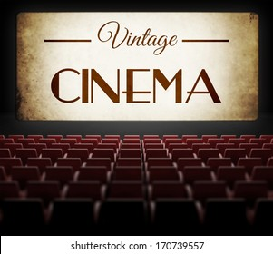 Vintage cinema movie in old retro interior, view from audience