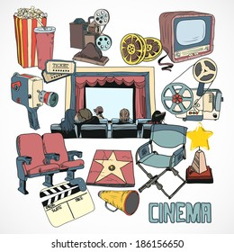 Vintage cinema with retro movie reel projector screen and couple kissing concept poster hand drawn  illustration