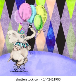 Vintage circus baby elephant with balloons watercolor drawing greeting card illustration
