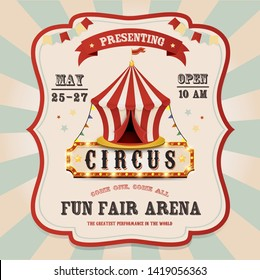 Vintage circus banner with bright bulbs. Carnival tent